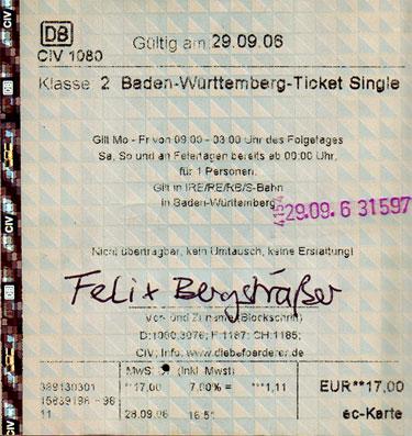 Badenwürttembergticket single